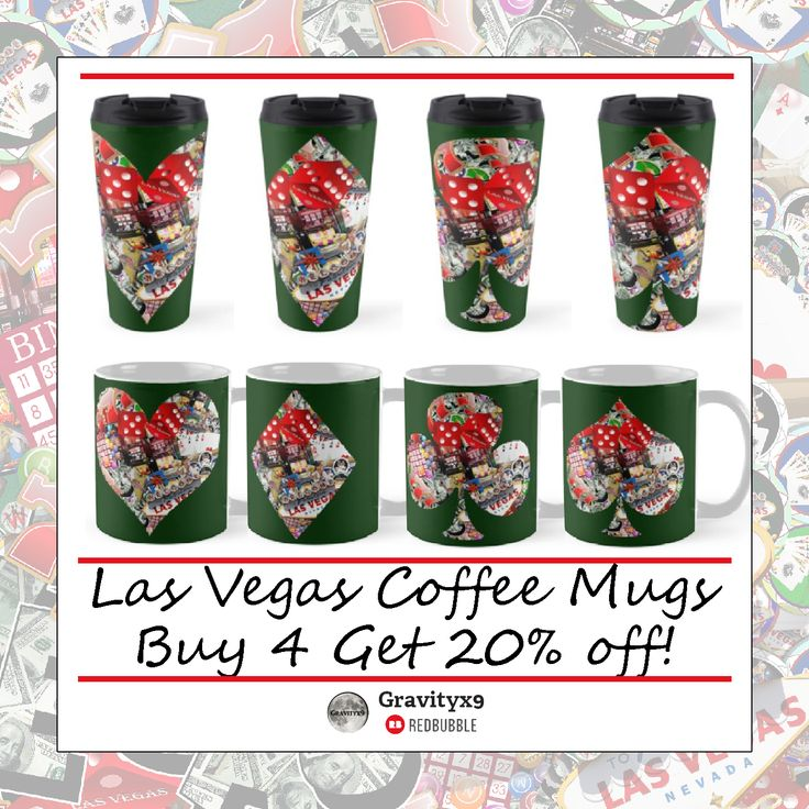 Get 20% Off 4 Standard Coffee Mugs ~ #LasVegas Themed Coffee Mugs by #Gravityx9 Designs at #Redbubble ~ Covered with the famous #LasVegasWelcomeSign, craps dice, lucky sevens and more, within playing card shapes.  Choose from Standard or Tall Coffee Mugs ~ Travel Mugs are also available with these designs.   ---- #coffeemugs #lasvegasmug #coffeemugsale #sale #onsale #mugshopping #drinkware #lasvegascoffeemug #lasvegas #lasvegasgift