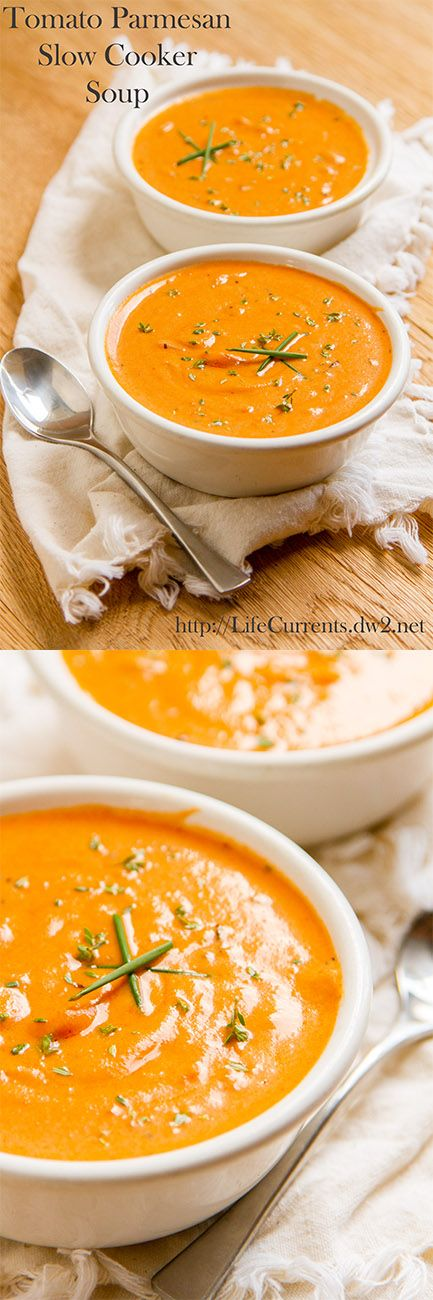 Tomato Parmesan Slow Cooker Soup--tasty. Creamy. Cheesy. I like Tyler Florence's roasted tomato soup better, but this is good if you don't have fresh ingredients on hand!