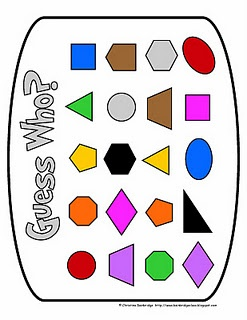"Plane Shape ""Guess Who"" Game Freebie"