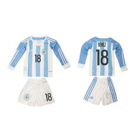 Argentina Trøje Børn 2016 #Tevez 18 Hjemmebanetrøje Lange ærmer.222,01KR.shirtshopservice@gmail.com