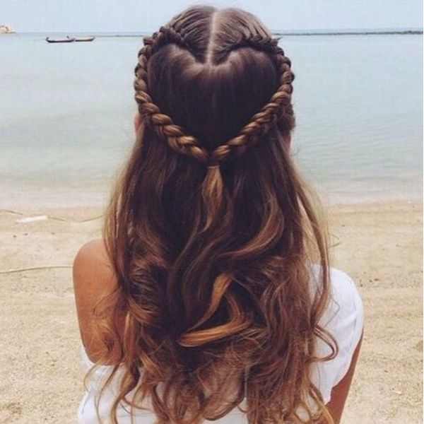 Hearted Long Braid Hairstyles For Hall Winter Cute