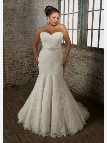 Beaded Fit-and-flared / Trumpet Sweetheart Court Train Lace Plus Size Wedding Dress - Didobridal
