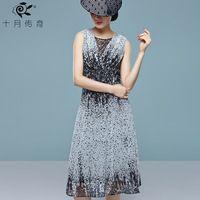 Octubre Leyenda de la Mujer 2014 Nueva Impresión floral V cuello blanco y negro de la cintura delgada un vestido sin mangas del tanque SSL403032