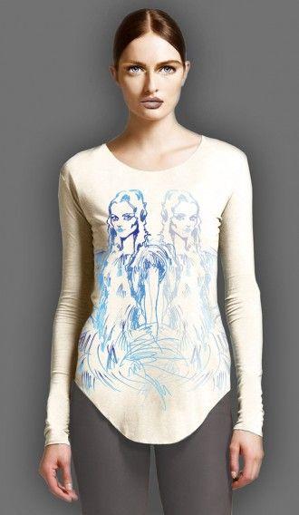 Watercolour Blue Girl Ivory long sleeve tee
