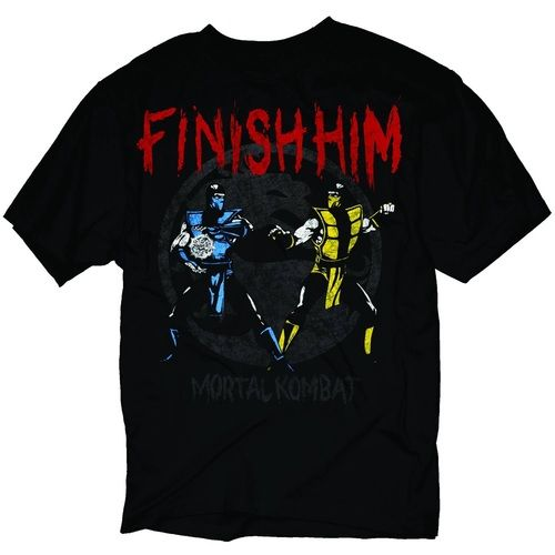 (Sponsored) Mortal Kombat Sub-Zero Scorpion Finish Him Adult Black T-shirt