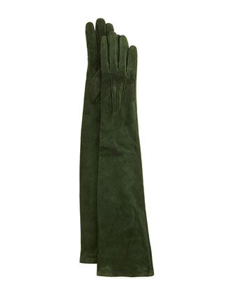 Long Suede Gloves by Guanti at Neiman Marcus.