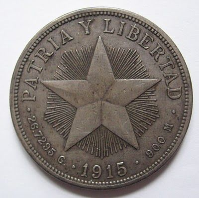 Cuba 1 peso silver coin, 1915.  Cuban Republic.