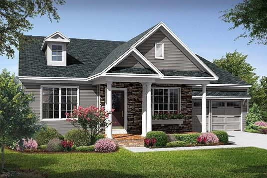 ranch style exterior remodel inspiration with pitched roof                                                                                                                                                                                 More