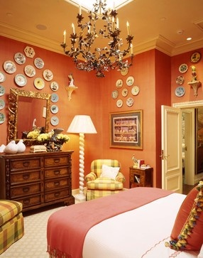 bedroom with terracotta colored walls interior design by tucker marks www - Terracotta Wall Paint
