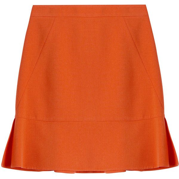 Emilio Pucci Wool Skirt (6.048.035 IDR) ❤ liked on Polyvore featuring skirts, bottoms, emilio pucci, orange, woolen skirt, stretchy skirt, flouncy skirt, orange skirt and ruffle skirt