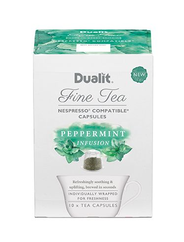 Dualit NX Fine Tea Capsule – Peppermint Infusion  A Soothing & Uplifting Infusion  This pure Peppermint Infusion is a taste revolution that is both soothing & uplifting, with unparalleled freshness. A classic digestif, known for its revitalising benefits.