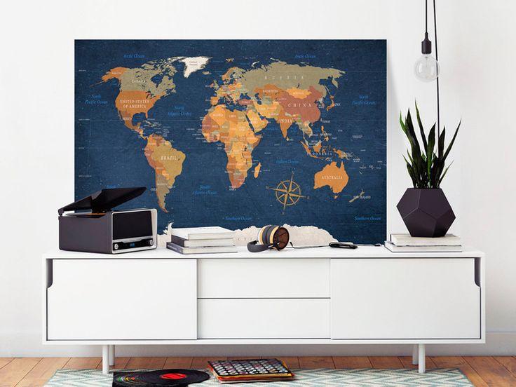Obraz mapa świata 120x80 cm k-C-0048-p - artgeist - Wydruki na płótnie