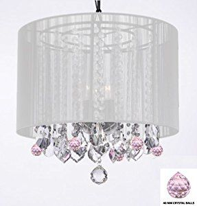 Crystal Chandelier Chandeliers With Large White Shade and Pink Crystal Balls