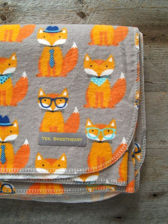 Extra Large Fox Flannel Baby Receiving Blanket-Modern-Swaddle Blanket-Baby Shower Gift-Forrest Animals-Woodland Animals-Mint-Hipster-Nursery