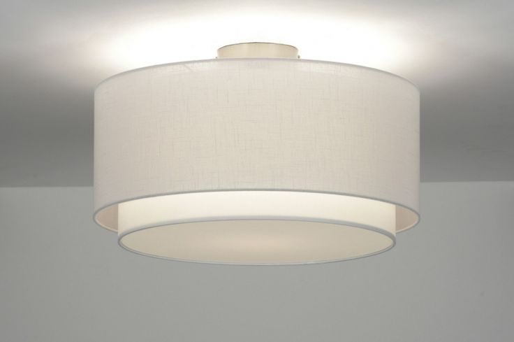 Plafondlamp 87177 modern retro metaal stof wit rond