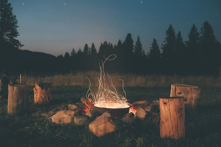 Autumn Night Fire Pit : Country fire pit sky night outdoors nature stars trees