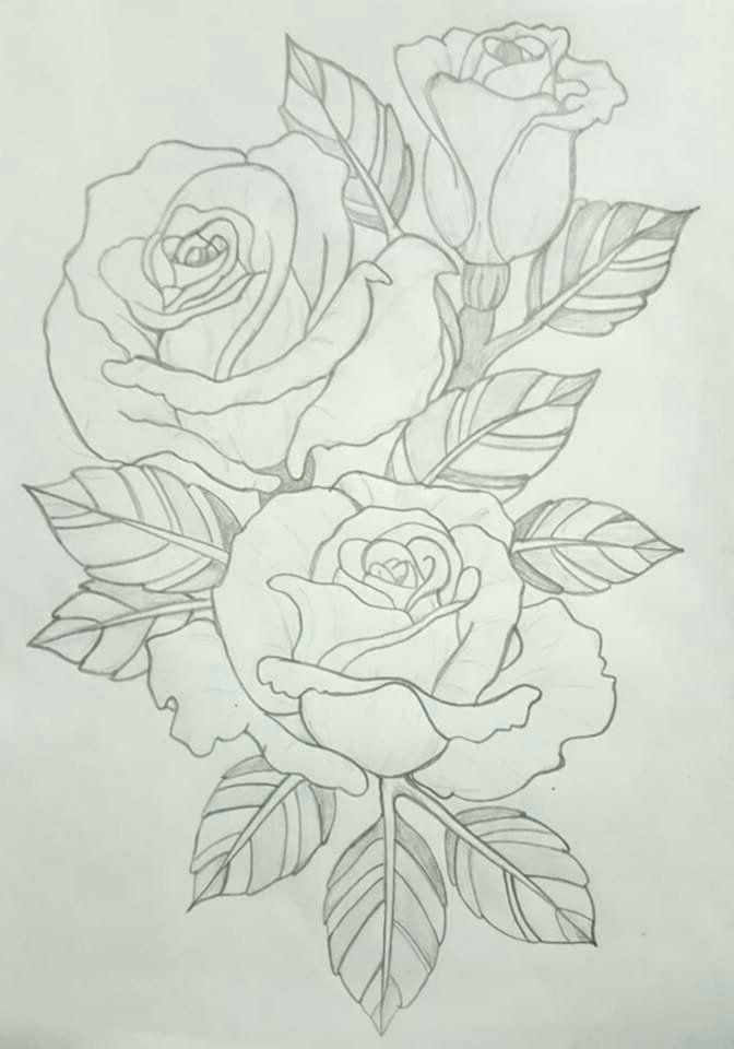 rosen im umriss malvorlagen | blumen skizzen
