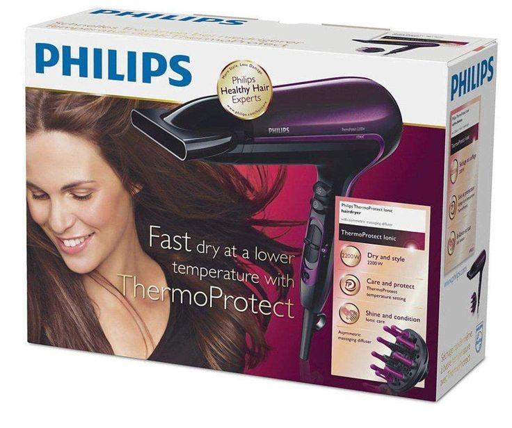 Secador de pelo - Philips HP8233/00 Potencia de 2200W, Iónico 2 velocidades, Aire frío