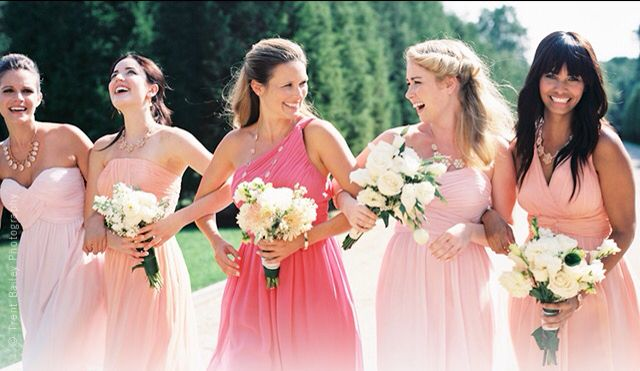 Pink coral peach salmon different shades bridesmaid chiffon dresses