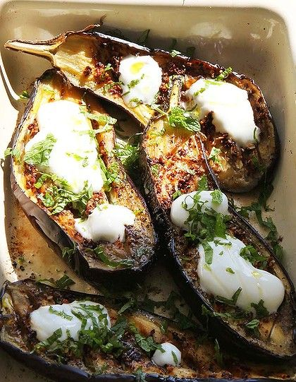 River Cottage Eggplant Boats ~ Soooooo good.