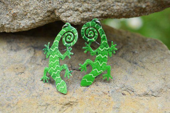 Lizard Earrings Eclectic Design Hand painted Jewelry by CinkyLinky