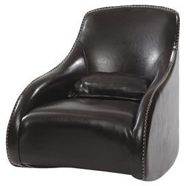 """Clean lines and contrast stitching define this contemporary leather accent chair, an eye-catching addition to your living room or den seating group.  Product: Accent chairConstruction Material: Leather, wood and foamColor: Dark Brown     Features: Handcrafted   Dimensions: 34.5"""" H x 29"""" W x 37"""" D"""