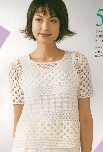 White Short Sleeve Multipattern Top free crochet graph pattern