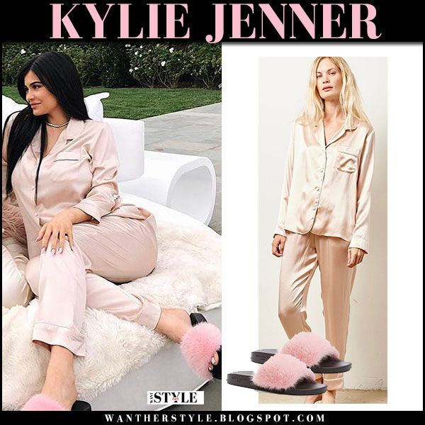9f9037312e Kylie Jenner in pink silk pajama set with pink fur slides baby shower   babybump  pink  powder  pastel