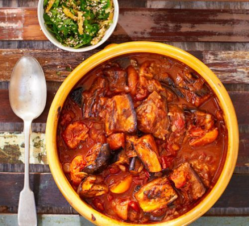 Smoky aubergine tagine with lemon & apricots