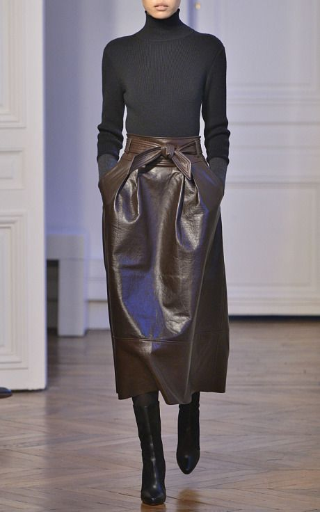 A-Line Leather Skirt by Martin Grant for Preorder on Moda Operandi