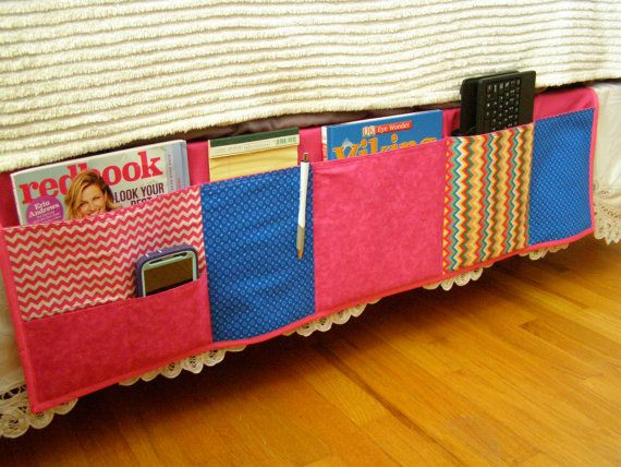 Bed Caddy Bedside Pocket Organizer Pink Blue by TheScrapBasket