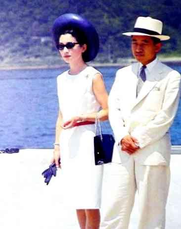 Young Michiko 美智子 Princess of Japan born Shouda Michiko 正田 美智子 with her husband Akihito 明仁 actual Emperor of Japan - 1960s