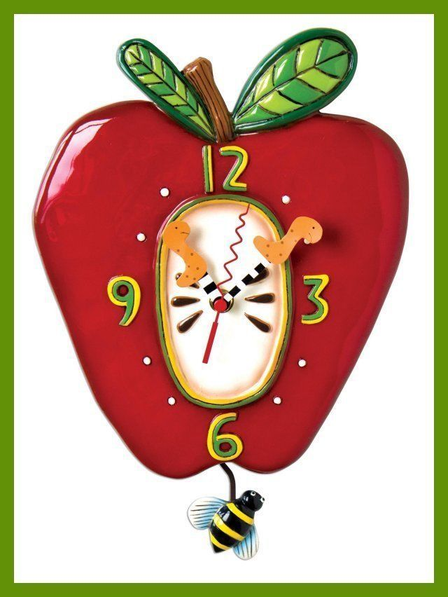 Superb A Cute And Whimsical Red Apple Wall Clock.