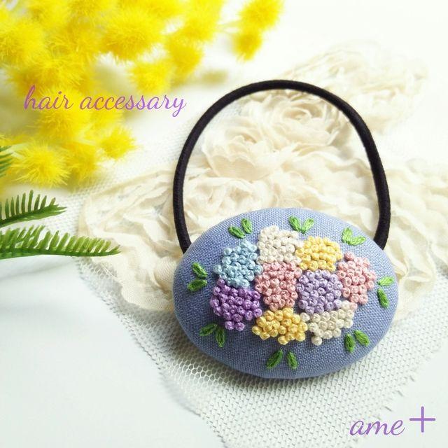 モコモコお花  刺繍ヘアゴム