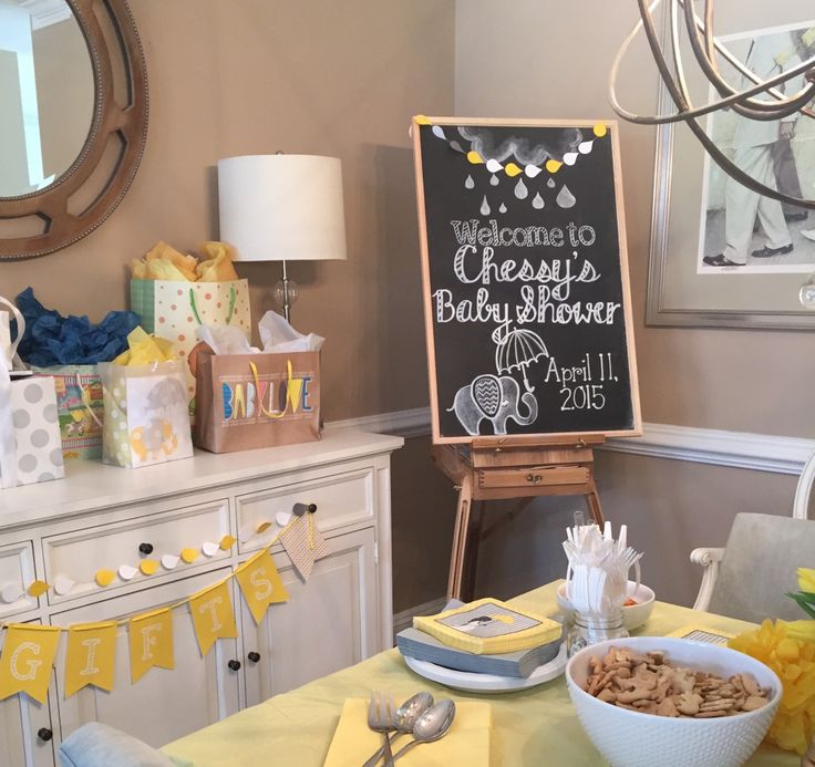 Baby shower setup! Customer chalkboard sign.  Modern calligraphy. Elephant themed baby shower.  Nashville, Tennessee.  Claire Cohen Lettering