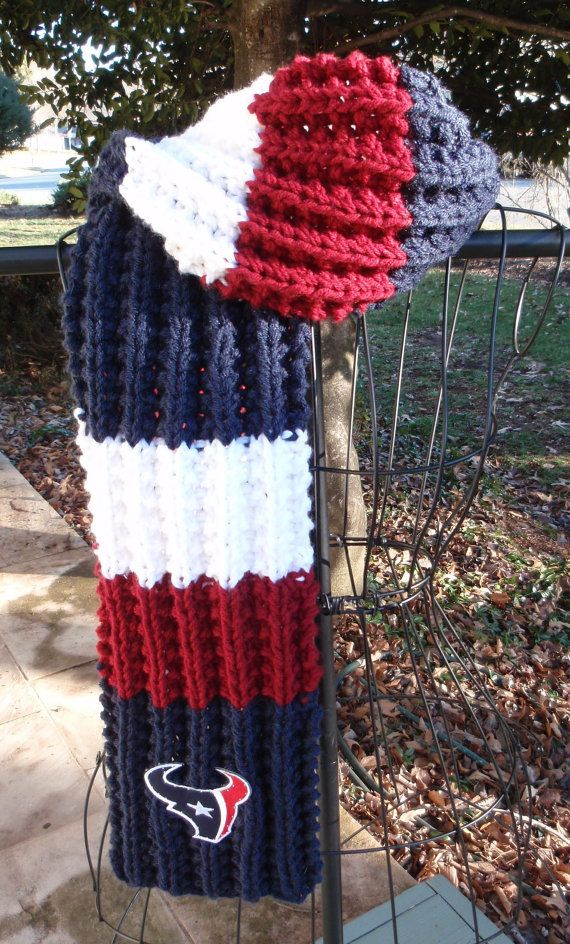 Houston Texans Themed Hand Knit Scarf by Tibbymc on Etsy, $40.00