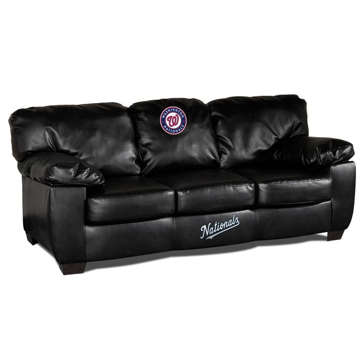 The Washington Nationals Black Leather Classic Sofa is the ultimate MLB Man Cave couch!