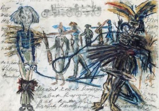 Antonin Artaud (1896 – 1948). La projection du véritable corps. Mine graphite et craie de couleur grasse sur papier
