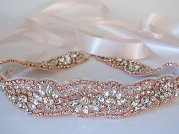 Rose Gold Crystal Rhinestone Bridal SashWedding by lostintimeinc