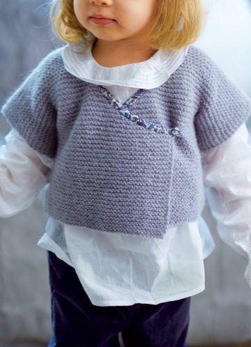 Gilet kimono pour enfant tricoté en alpaga d'un seul tenant avec col en liberty du 2 au 8 ans  marie-claire 76