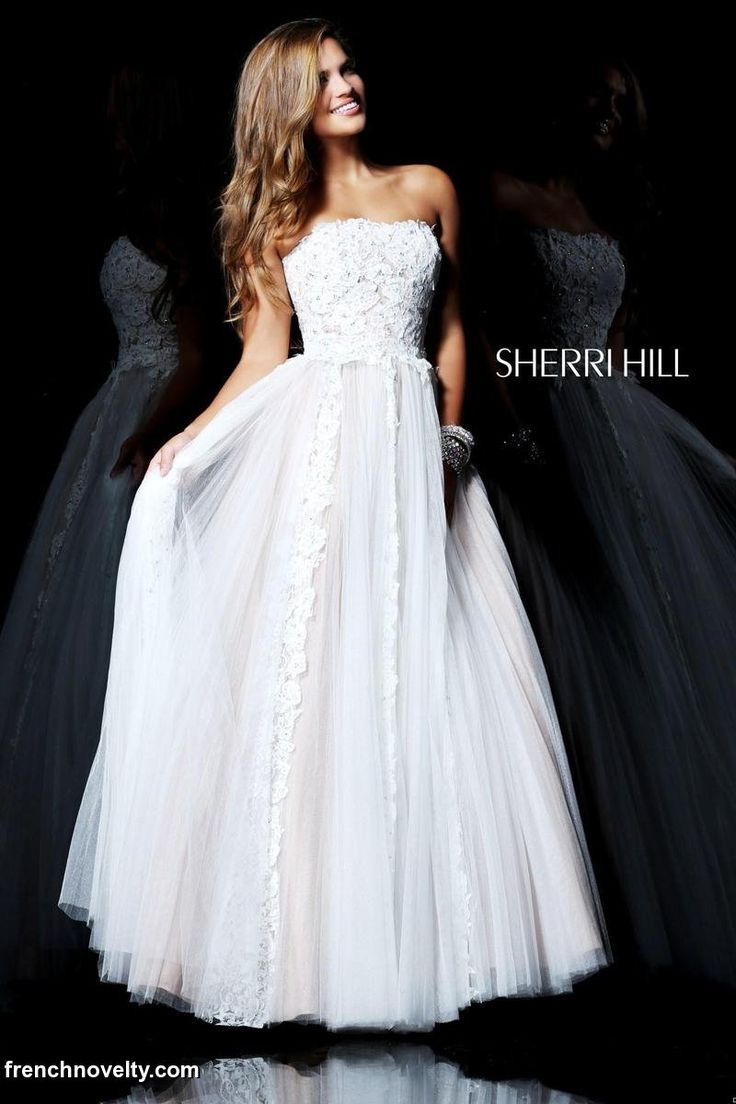 Sherri hill ivory and nude long prom dress gowns galore