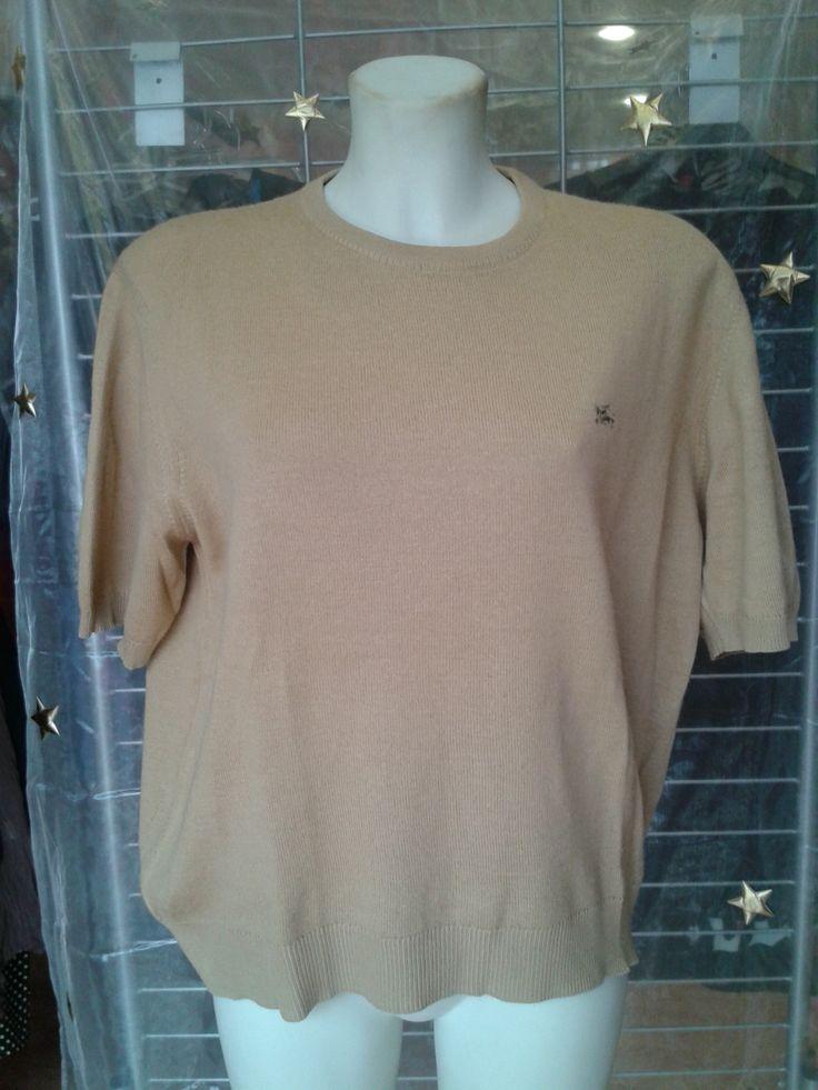 Jersey cuello redondo Media manga Color beige 60 % lana, 40 % acrílico Talla 46