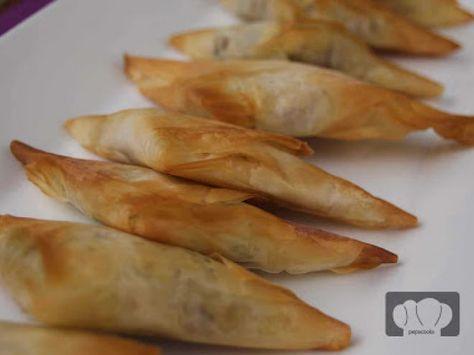 Receta Entrante : Pasta filo rellena de tres variedades por Pepa cooks