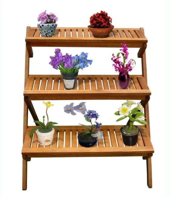 Plant Stand Garden Outdoor Indoor 3 Tier Patio Storage