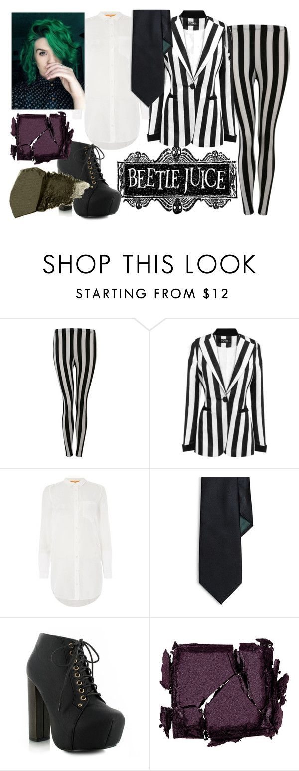 """† beetlejuice costume †"" by princessieromustdie on Polyvore featuring Pilot, HUGO, Lauren Ralph Lauren, Surratt, Gorgeous Cosmetics, beetlejuice and costumes"