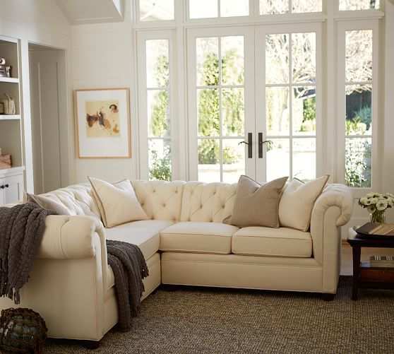 Chesterfield 3 Piece L Shaped Corner Sectional Polyester