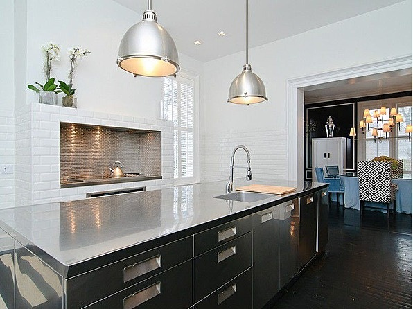 Victorian home, built in 1888, with a renovated modern industrial kitchen! #NewYork #StainlessSteel #Fireplace