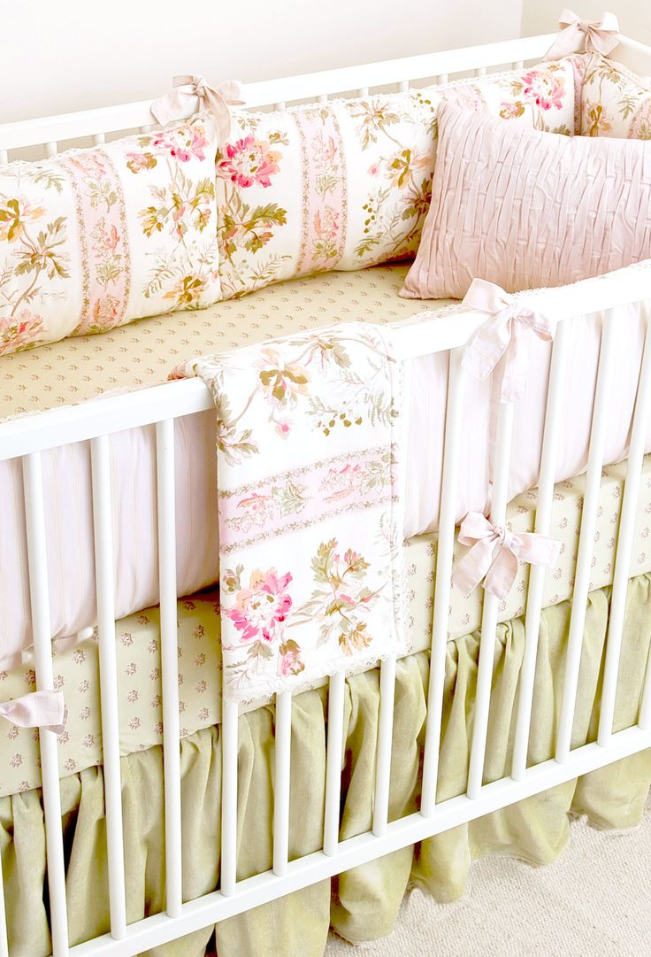 The Blush Hortense crib bedding is incredibly elegant and old-world with whisper soft pink florals and subtle green hues. The combination is also available as a rail guard. Please note - we are now us
