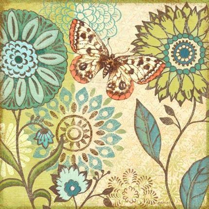 Nature Garden Butterfly Turqoise Flower-Sq by Jennifer Brinley | Ruth Levison Design