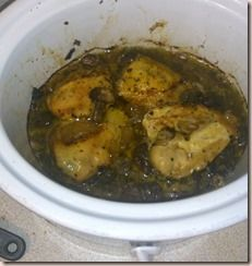 paleo chicken crockpot in mushroom gravy. I replaced the dried herbs ...